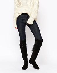 Asos Kilo Suede Flat Over The Knee Boots Black