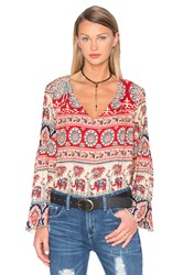 Chaser Double V Peasant Blouse Peach