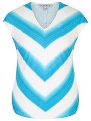 Chesca Ombre Stripe Chevron Jersey Top Ivory Turquoise
