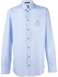Dolce And Gabbana Crown Bee Embroidered Shirt Blue