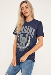 Missguided Navy Alabama Slogan Oversized T Shirt