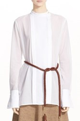 Rosetta Getty Pleat Tuxedo Shirt White