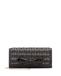 Valentino Pleated Leather And Rhinestone Clutch Bag Black