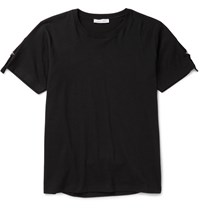 J.W.Anderson Slim Fit Strap Detailed Cotton Jersey T Shirt Black