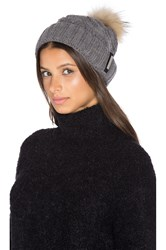 Soia And Kyo Amalie Hat With Asiatic Raccoon Fur Pompom Gray