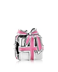 Pandora Design Pandora Charm Sterling Silver And Enamel Wrapped With Love Moments Collection Silver Pink