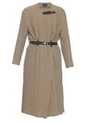 Isabel Marant Gabin Leather Belt Quilted Cotton Coat Tan