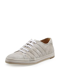 Berluti Suede Lace Up Sneaker White