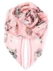 Alexander Mcqueen Mask Print Scarf Pink And Purple