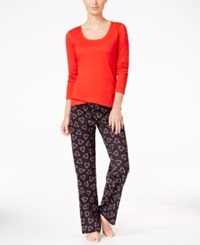 By Jennifer Moore Knit Top And Printed Pants Pajama Set Only At Macy's Red Candycane Heart