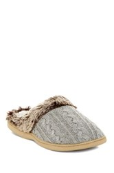 Gold Toe Faux Fur Knit Slipper Gray