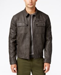 Kenneth Cole Men's Antiqued Faux Leather Bomber Jacket Grey