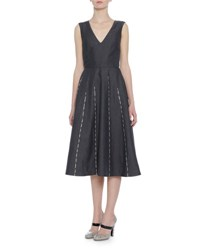 Bottega Veneta Sleeveless Embroidered Linen Dress Dark Gray