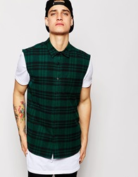 Asos Sleeveless Shirt In Long Sleeve With Mid Scale Check Green
