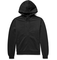Dolce And Gabbana Loopback Cotton Jersey Zip Up Hoodie Black