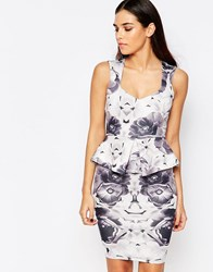 Vesper Katy Peplum Midi Dress In Floral Print Gray Print