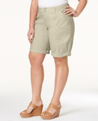 Inc International Concepts Plus Size Poplin Shorts Only At Macy's Toad Beige