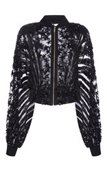 Elie Saab Stars Embroidered Zipped Bomber Black