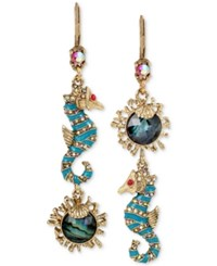 Betsey Johnson Gold Tone Sea Horse And Stone Mismatch Double Drop Earrings