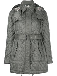 Burberry Quilted Padded Trench Coat Grey