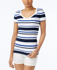Tommy Hilfiger Wendy Striped V Neck T Shirt Core Navy Classic White
