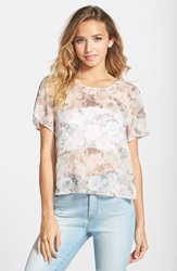 Frenchi Back Slit Tee Juniors Grey Lunar Kat Floral