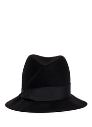 Armani Collezioni Swirl Crown Felted Wool Trilby Hat Black