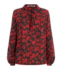 Mcq By Alexander Mcqueen Floral Tie Neck Blouse Female Red