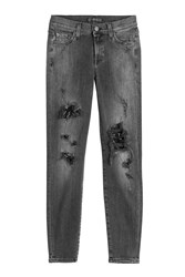 7 For All Mankind Seven Distressed Skinny Jeans Grey