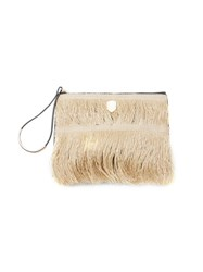 Osklen Front Straw Fringed Clutch Nude And Neutrals