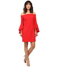 Vince Camuto Off Shoulder Dress With Handkerchief Sleeves Fire Glow Women's Dress Red