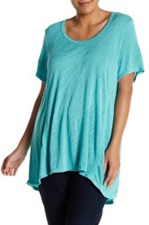 Bobeau Slub Knit Scoop Neck Tee Plus Size Blue
