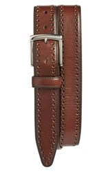 Johnston And Murphy Men's Big Tall Perforated Leather Belt Mahogany