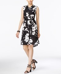 Ny Collection Printed Sleeveless Shirtdress Black White Floral