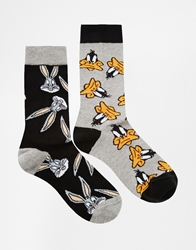 Asos 2 Pack Socks With Bugs Bunny And Daffy Duck Multi