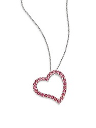 Effy Pink Tourmaline And 14K White Gold Open Heart Pendant Necklace