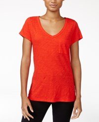 Maison Jules Short Sleeve V Neck T Shirt Only At Macy's Loving Red