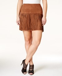 American Rag Plus Size Faux Suede Fringe Mini Skirt Only At Macy's Tobacco