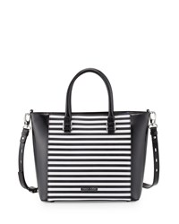 Charles Jourdan Mindi 2 Striped Leather Tote Bag Black White