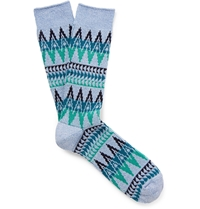Anonymous Ism Patterned Cotton Blend Socks Blue