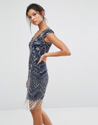Frock And Frill Embellished Mini Flapper Dress Navy Blue