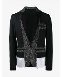 Haider Ackermann Virgin Wool Blend Paneled Blazer Black Linen