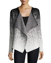 Neiman Marcus Long Sleeve Drape Front Cardigan Black White