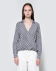 Farrow Striped Crossover Top Grey Stripe
