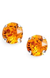 Women's L. Erickson 'Grace' Crystal Stud Earrings Tangerine Silver