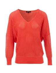 Morgan Ribbed Effect Cotton Sweater Coral
