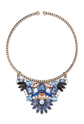 Forever 21 Rhinestone Flower Collar Necklace B.Silver Blue