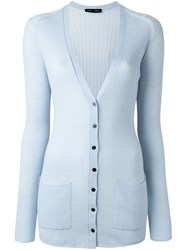 Proenza Schouler Long Ribbed Cardigan Blue