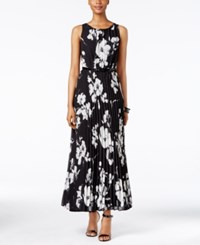Jessica Howard Petite Floral Print Pleated Maxi Dress Navy