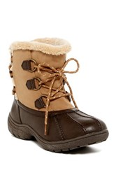 London Fog Ledbury Faux Shearling Lace Up Cold Weather Boot Brown
